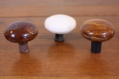 Lot 3 Porcelain Pottery Ceramic Bennington Brown Antique Vtg Door Knobs Handles