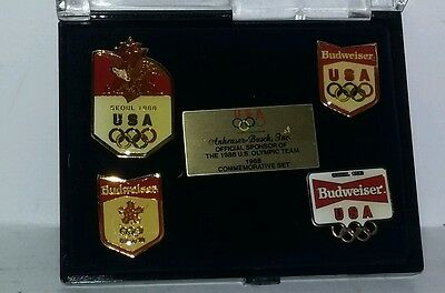 Budweiser Anheuser Busch 1988 Commemorative US Olympic Pin Set /  Plus More
