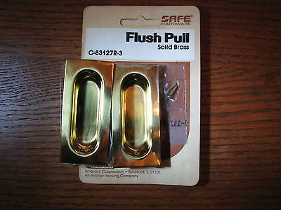 Vintage AMEROCK (package of 2) SOLID  BRASS rectangle Flush Pull C-83127R-3