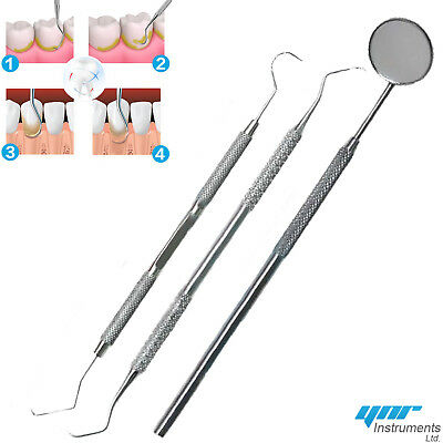 Professional DENTAL 3 PIECE-Scaler Probes Pick SET + Mouth Mirror Steel Tool Kit