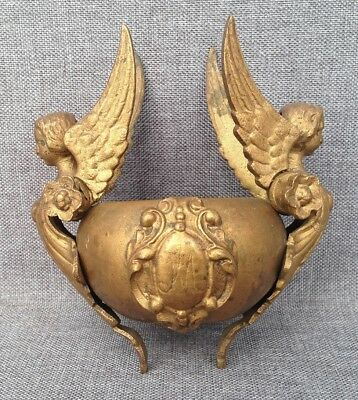 Antique furniture ornament ormolu France Empire style angels 19th century
