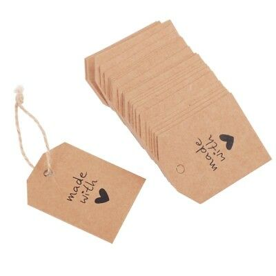 100pcs Made With Love Sign Paper Kraft Tag Wedding Note DIY Blank Price Hang Tag