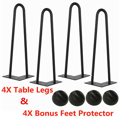 New 4x Premium Steel Industrial Hairpin Legs For Bench Desk Table Protector Feet
