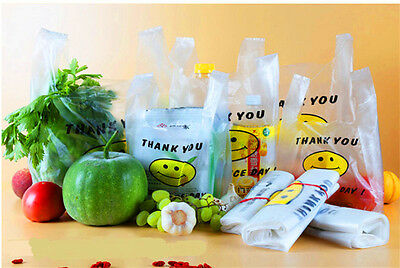 Clear Plastic T-Shirt Bags With Handles Retail Grocery Merchandise Shopping Bags