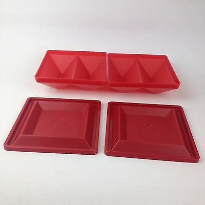 NEW Tupperware Hostess 4pc Set Get Together Square Serving Tray & Seal Lids Red