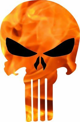 Punisher Skull Decal - Orange Fire Black Eye/Nose Punisher Exterior Decal