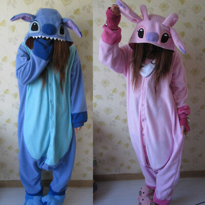 New Adult Kigurumi Pajamas Pyjamas Onesie Blue Stitch angel lilo Cosplay Costume