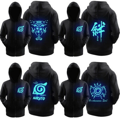 Anime Naruto Luminous Sweatshirt Kakashi Itachi Hoodie Jacket Coat Cosplay S-3XL