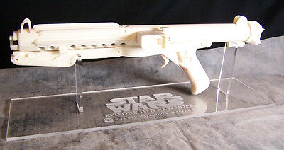 Star Wars E-11 Stormtrooper Blaster acrylic display stand clear base w/engrave