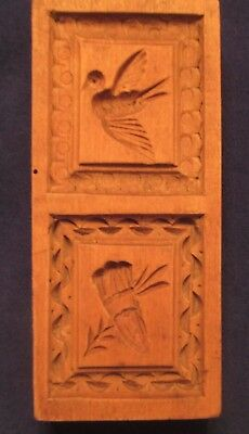 ANTIQUE Wood GERMAN Springerle Speculaas Butter Cookie Stamp Mold  2 PRINT PRESS