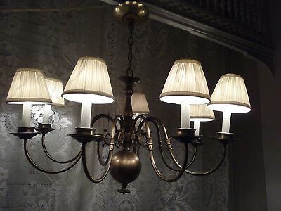 Eight Arm Vintage Brass Chandelier Detailed arms 8 shades newly rewired