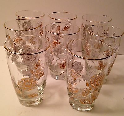 8 Libbey White Rose Bouquet Pattern Glasses Gold Rim Tumblers Highball Cocktail