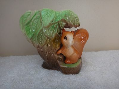 Vintage Withernsea East Gate Pottery Fauna Posy Vase Tree Stump & Squirrel 1950s