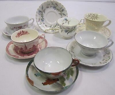 """Mixed Lot Vtg Mid Century """"Mad Hatter Tea Party"""" Set (6) Cups Saucers Wedding J2"""