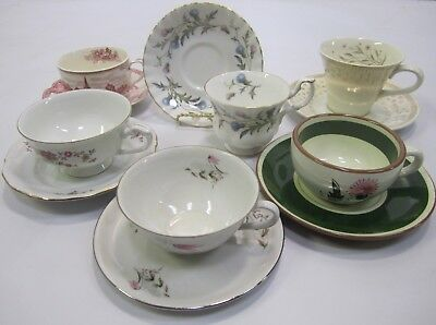 """Mixed Lot Vtg Mid Century """"Mad Hatter Tea Party"""" Set (6) Cups Saucers Lot J4"""