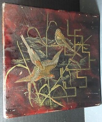 Vintage Square Oriental Leather Topped Wooden Jewelry / Trinket Box Very Good
