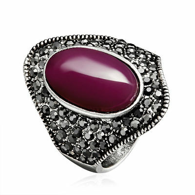 Big Vintage Purple Opal Cubic Zirconia Ring Antique Sliver Plated Party Jewelry