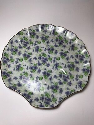VINTAGE LEFTON CHINA SCALLOPED CLAM VIOLET CHINTZ SNACK PLATE 638 Hand Painted