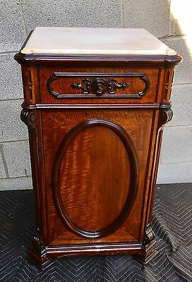 Alexander Roux Signed Rosewood And Birdseye Maple Marble Top 1/2 Commode