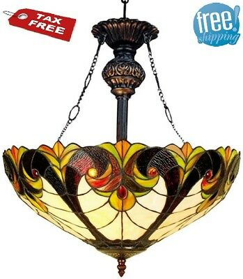 Glass Dome Light Fixture Ceiling Tiffany Style Stained Bronze Victorian Hanging