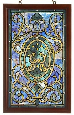 Hanging Stained Glass Window Panel Tiffany Style Purple Wooden Frame Vertical