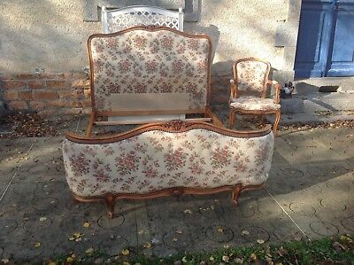 French vintage Louis XV Corbielle double bed and matching chair