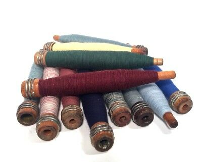 Bobbins Spools Spindles Quills Threaded Textile Multicolored Wooden lot-12