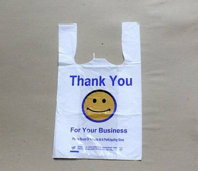 """1000pc T Shirt Large Carry Plastic Shopping Bags(Smiley face)11 1/2""""x6 1/4""""x21"""""""