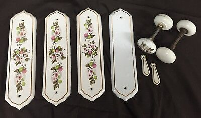 Collection of Vintage Porcelain Door Knobs, Finger Plates and Keyhole Covers