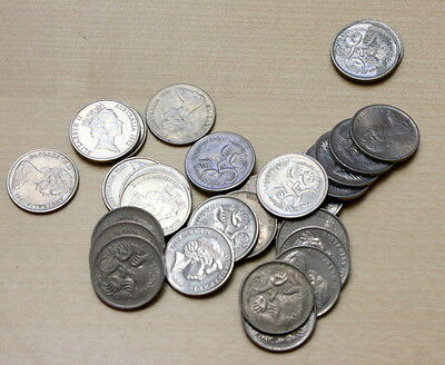 Australia: Lot of 30 Different 5 Cents Coins
