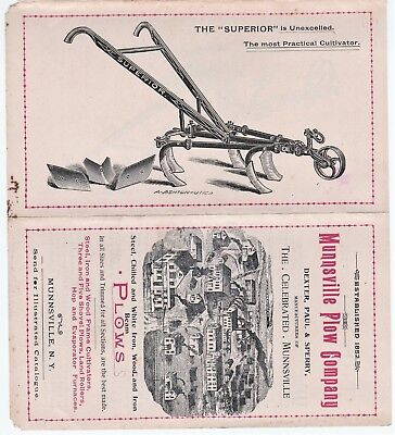 SUPER Rare Munnsville NY Plow Co Advertising Brochure Catalog c 1880 Illustrated