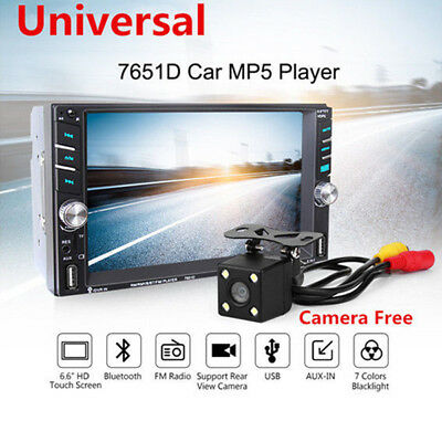 """6.6"""" Touch Screen MP5 2DIN Bluetooth FM Radio Stereo Player Rear Cam Fit For Car"""