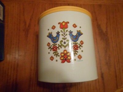 Vintage Chenico Housewares tin canister - Corning 1975 decoration on front