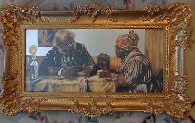HUGE Framed Picture Sign MIRROR Bar, Black Americana, PICK UP, NEW JERSEY