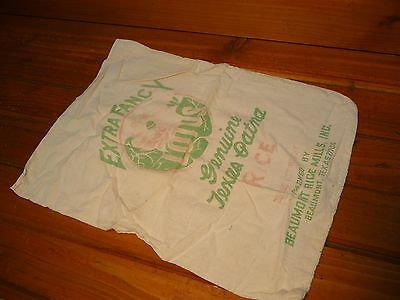 Vintage LOTUS Rice Sack EXTRA FANCY TEXAS PATNA Cloth Bag Green & Red Flower