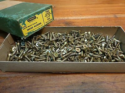 Vintage Stanley Satin Brass Plated Wood Screws