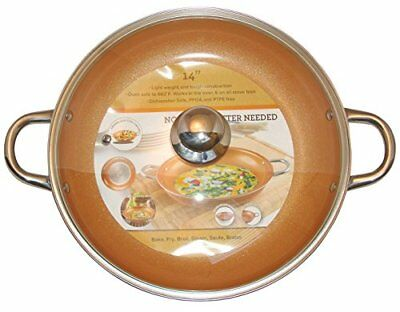 Copper Frying Pan Tempered Glass Lid Non Stick Ceramic Infused Titanium Steel
