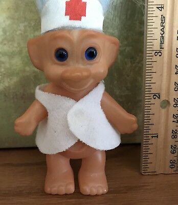 """Vintage Troll W/Light Blue Hair 3.5"""" Tall Made In KOREA  UNBRANDED -Nurse Outfit"""