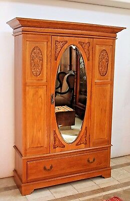 Antique Wardrobe Closet Carved Golden Oak Cedar Lined Beveled Mirror locking