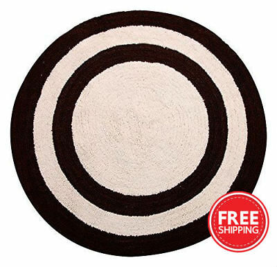 Bath Rug Cotton 36 Inch Round Reversible Beige Crochet Lace