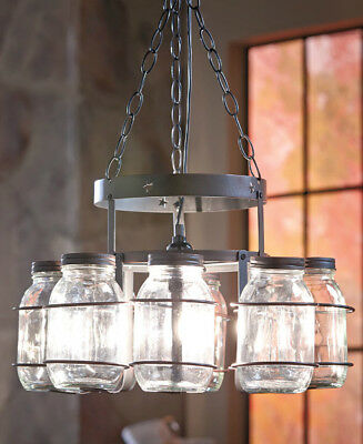 Rustic Farmhouse Country Wrought Iron Canning Jar Chandeliers Chain OnOff Switch
