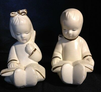 Coventry Ware 30's Chalkware Boy & Girl Reading Books Bookends Free US Shipping