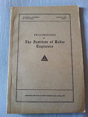 Proceedings IRE Institute Radio Engineers 1937 Radio Epoca PHILIPS ZENITH MONZA