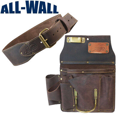 "Ox Pro 12-Pocket Drywall Tool Pouch and 3"" Belt - Heavy Duty Top Grain Leather"