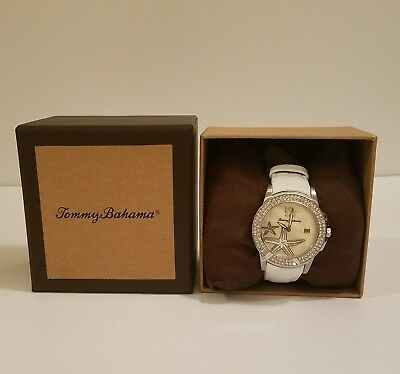 Tommy Bahama Women's Mother of Pearl Rhinestone Starfish White Leather Watch