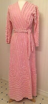 Vintage 1940's 1950s chenille bathrobe, pink, as is