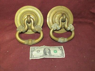 Pr Antique Southeast Asian Brass or Bronze Sculpture Bronze Hardware Door Pulls
