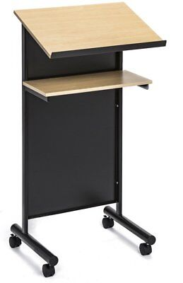Stupendous Wheeled Lectern With Storage Shelf Compact Standing Desk For Reading 3 Styles Home Interior And Landscaping Elinuenasavecom