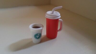 NEW  Barbie Accessory  FOR DIORAMA RED DRINK CUP & STARBUCKS CUP