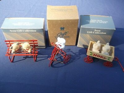 3 Vintage Avon Gift Collection Christmas Ornaments  Teddy Bear Collection